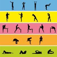 Stretching Exercise Icon Set för att sträcka armar, ben, rygg och nacke.
