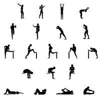 Stretching Exercise Icon Set zum Dehnen von Armen, Beinen, Rücken und Nacken.