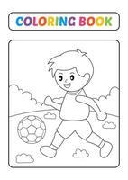 Malbuch, Fußball spielen Vektor