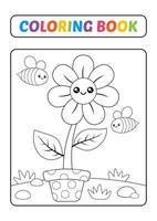Malbuch, Blumenvektor vektor