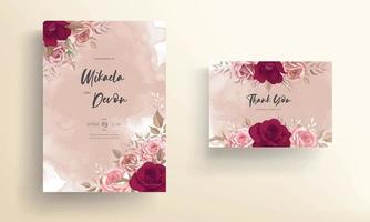 elegante Hochzeitseinladungskarte mit wunderschönen kastanienbraunen Rosen vektor