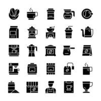 Reihe von Kaffeesymbolen mit Glyph-Stil. vektor