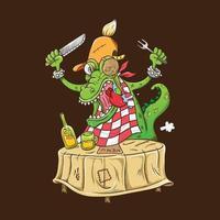 Krokodilfigur, die Essen isst vektor