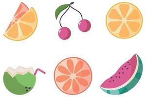 eine Reihe saftiger tropischer Fruchtsymbole vektor