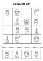 Sudoku-Spiel für Kinder mit süßem schwarz-weißem Schulmaterial. vektor