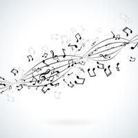 Musik illustration med fallande anteckningar