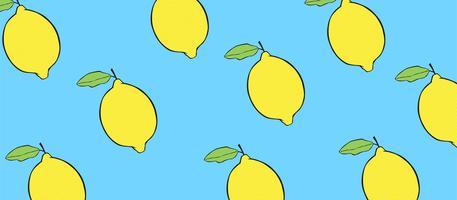 Citroner på blå bakgrund. vektor