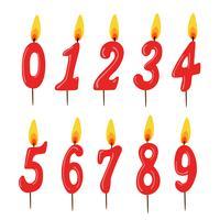 Set med röda födelsedagstearinljus. Tal. vektor