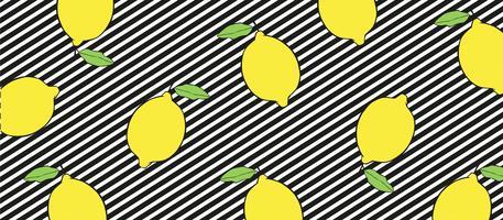 Citroner på svart och vit linjer bakgrund. vektor