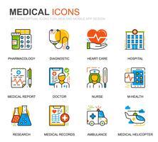 Enkel uppsättning sjukvård och medicinska radikoner för webbplats- och mobilapps