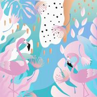 Tropiska djungelbladen och blommoraffischen bakgrund med flamingos