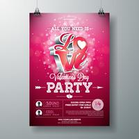 Valentinstag-Party-Flyer-Design