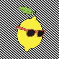 Knallzitrone mit Sonnenbrillen auf Zeilen Hintergrund