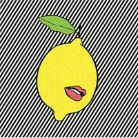 Pop Zitrone mit Lippen und Linien Hintergrund