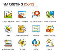 Enkel uppsättning företag och marknadsföringslinjeikoner för webbplats- och mobilapps