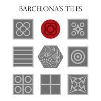 Sats av panoter, typisk modernistisk, hydraulisk trottoar av Barcelona.