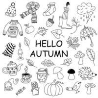Herbst-Doodle-Set. vektor