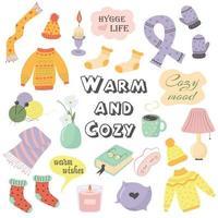 Herbst oder Winter gemütliche süße Dinge und Gegenstände. warm und gemütlich. vektor