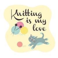 süße Katze mit einem Strickball. Wollknäuel mit Stricknadeln. vektor