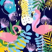 Tropischer Dschungel verlässt und blüht Plakathintergrund mit Flamingos vektor