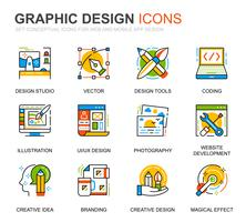Enkel webbsätt och grafisk designlinjeikoner för webbplats- och mobilapps
