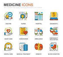 Enkel uppsättning sjukvård och medicinlinje ikoner för webbplatsen