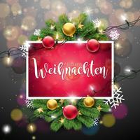 Julillustration med Frohe Weihnachten Typografi