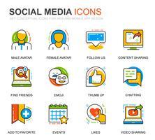 Enkel Set Social Media och Network Line Ikoner för webbplatsen vektor