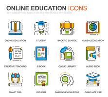 Enkel uppsättning utbildnings- och kunskapslinjepictogram för webbplatsen