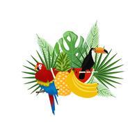 Tropischer Hintergrund mit Tukan, Papagei und Früchten