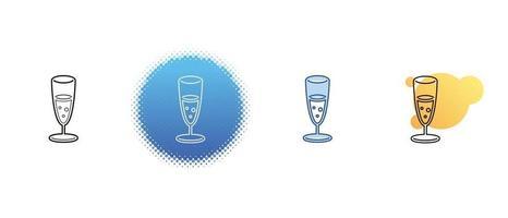 Dies ist eine Reihe von Kontur- und Farbsymbolen eines Glases Sekt vektor