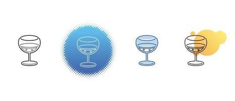 Dies ist eine Reihe von Kontur- und Farbsymbolen eines Weinglases vektor