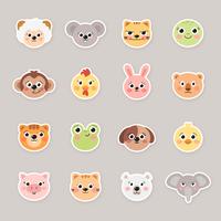 Tecknade djur ansikte klistermärken vektor