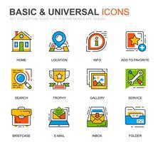 Einfaches Set Basic Line Icons für Website und Mobile Apps vektor