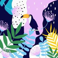 Tropiska djungelbladen och blommoraffischen bakgrund med toucan