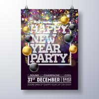 New Year Party Poster Illustration