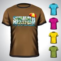 T-Shirt eingestellt mit Sommerferienillustration. vektor