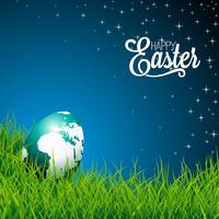 Påsk illustration med glänsande jordklot-ägg