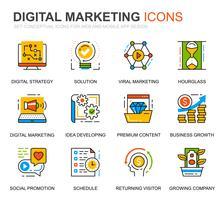 Enkel uppsättning företag och marknadsföringslinjeikoner för webbplats- och mobilapps vektor