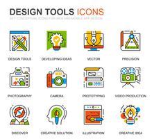 Einfache Set-Design-Tools Line-Icons für Website und Mobile Apps vektor