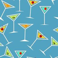 nahtloses Hintergrundmuster des alkoholischen Cocktailglases vektor