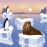 Walrossrobbe und Pinguine stehen auf dem Nordpol des Eisbergs vektor