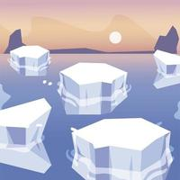 Eisberge geschmolzenes Meer Nordpol Landschaftsdesign vektor