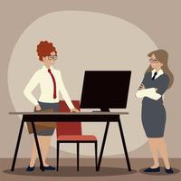 Geschäftsfrau mit Ordner Schreibtisch und Computerarbeitsbüro vektor