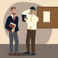 Geschäftsleute, besorgte Geschäftsleute mit Ordnerdokumentenbüro vektor