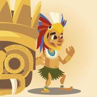 aztekischer Krieger mit Kopfbedeckung und goldener Ornamentkultur vektor