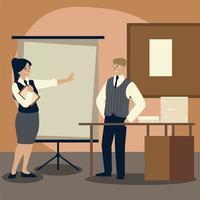 Geschäftsmann mit Ordner Schreibtisch und Papier Büro Cartoon vektor