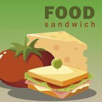 Essen Sandwich-Käse und frische Gemüsetomate vektor