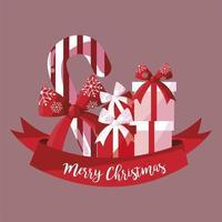 Frohe Weihnachten Zuckerstange mit Geschenken und Band vektor