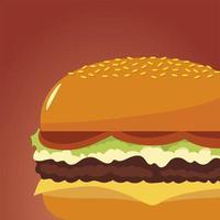 Fast Food Burger leckeres Symbol isoliertes Bild vektor
